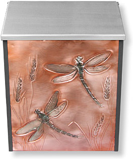 dragonfly and wheat copper mailbox