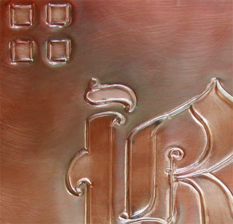 Pacific style with initial copper mailbox closeup