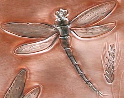 dragonfly and wheat mailbox closeup