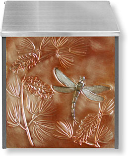 Pine branch with dragonfly mailbox in copper